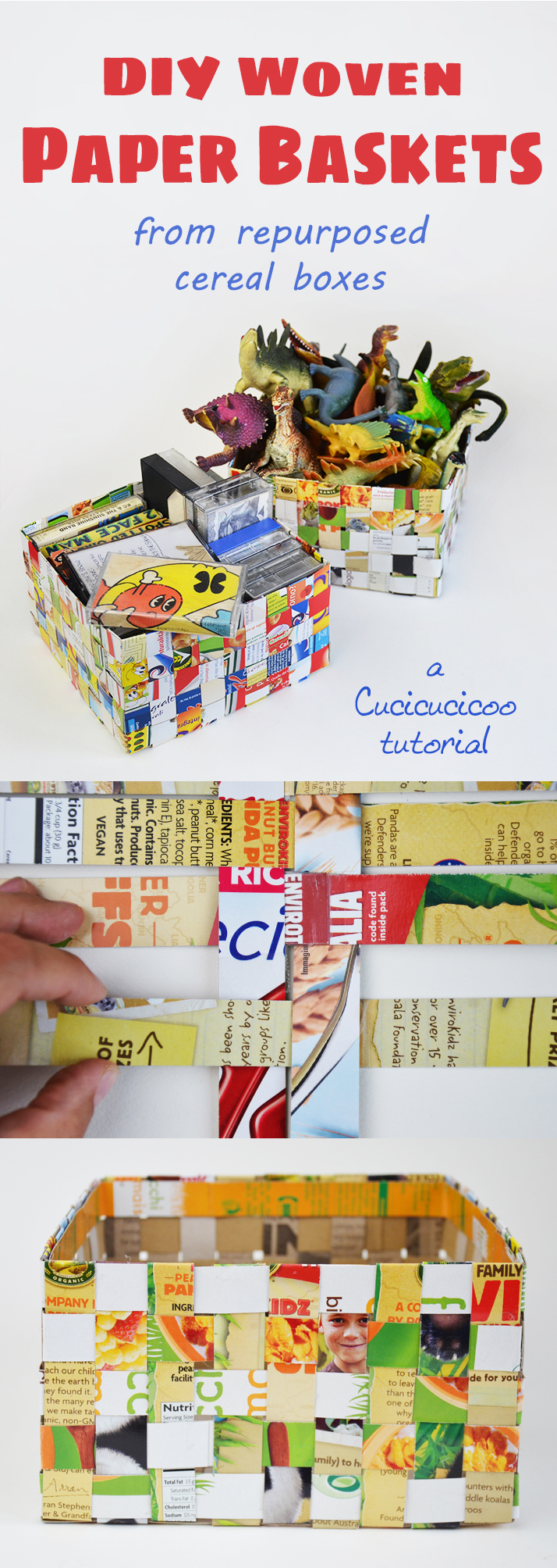 Make your own easy woven paper baskets from repurposed cereal boxes with this easy tutorial by www.cucicucicoo.com. So fun and colorful!
