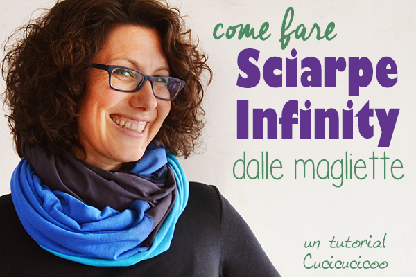 Crea un accessorio comodo dalle vecchie magliette, anche se strappate o macchiate! Questo refashion tutorial mostra come tagliare le magliette e ricomporle per fare una sciarpa infinity colorata ed unica! #refashion #sciarpainfinity #cucitocreativo
