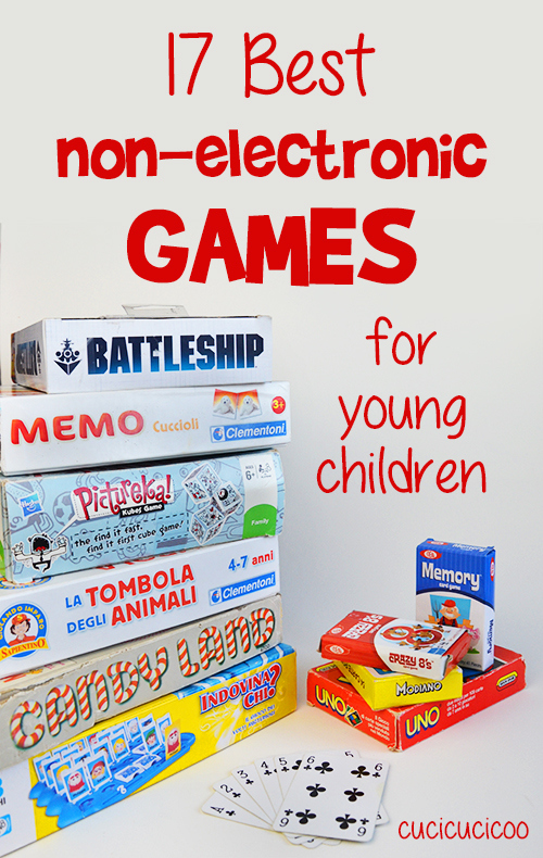 Are you sick of arguing with your kids over screen time? Provide them with stimulating fun without batteries! These 17 fantastic non-electronic games are perfect for young children with limited or no reading or math skills!
