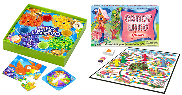 Hi Ho Cherry-o! and Candy Land: The 17 BEST non-electronic games for young children with limited or no reading or math skills. www.cucicucicoo.com