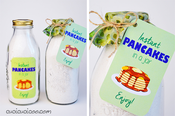 Need a last minute gift? Give the gift of tasty breakfast! This pancake mix in a jar is for four batches of 12 pancakes and there are even printable adhesive or cut-out labels! www.cucicucicoo.com