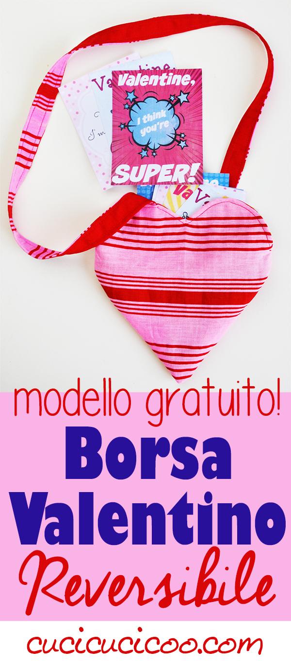 Questa borsa San Valentino fai da te con la sua forma a cuore reversibile è perfetto per le bambine nel giorno dell'amore, e non solo! Cartamodello gratuito e tutorial di Cucicucicoo Patterns!