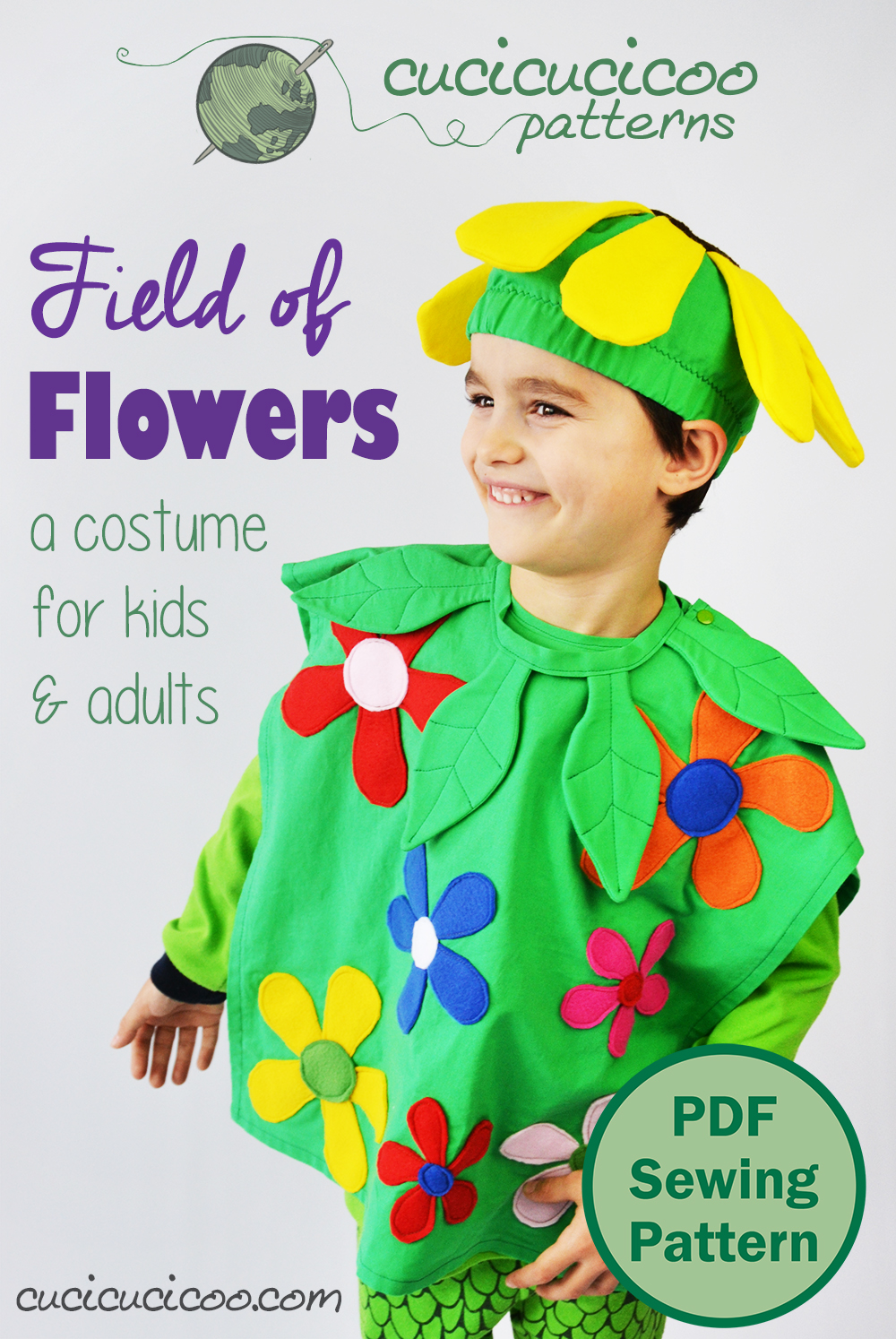 Everyone loves a bright and happy homemade costume, especially if it's covered in flowers! The new Field of Flowers costume pattern has body, hat and neck piece in 11 sizes, so everyone in the family can dress up! #diycostume #sewingpattern