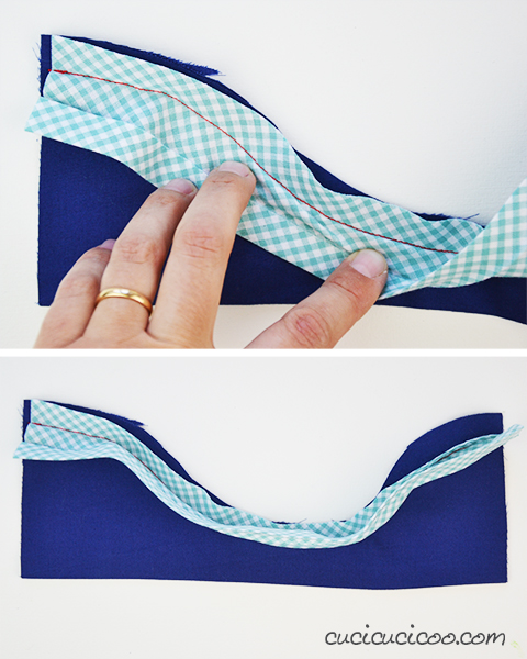 The best way to bind edges! This tutorial shows how to sew bias tape on curves and also on straight lines with an easy trick for perfectly even stitching!