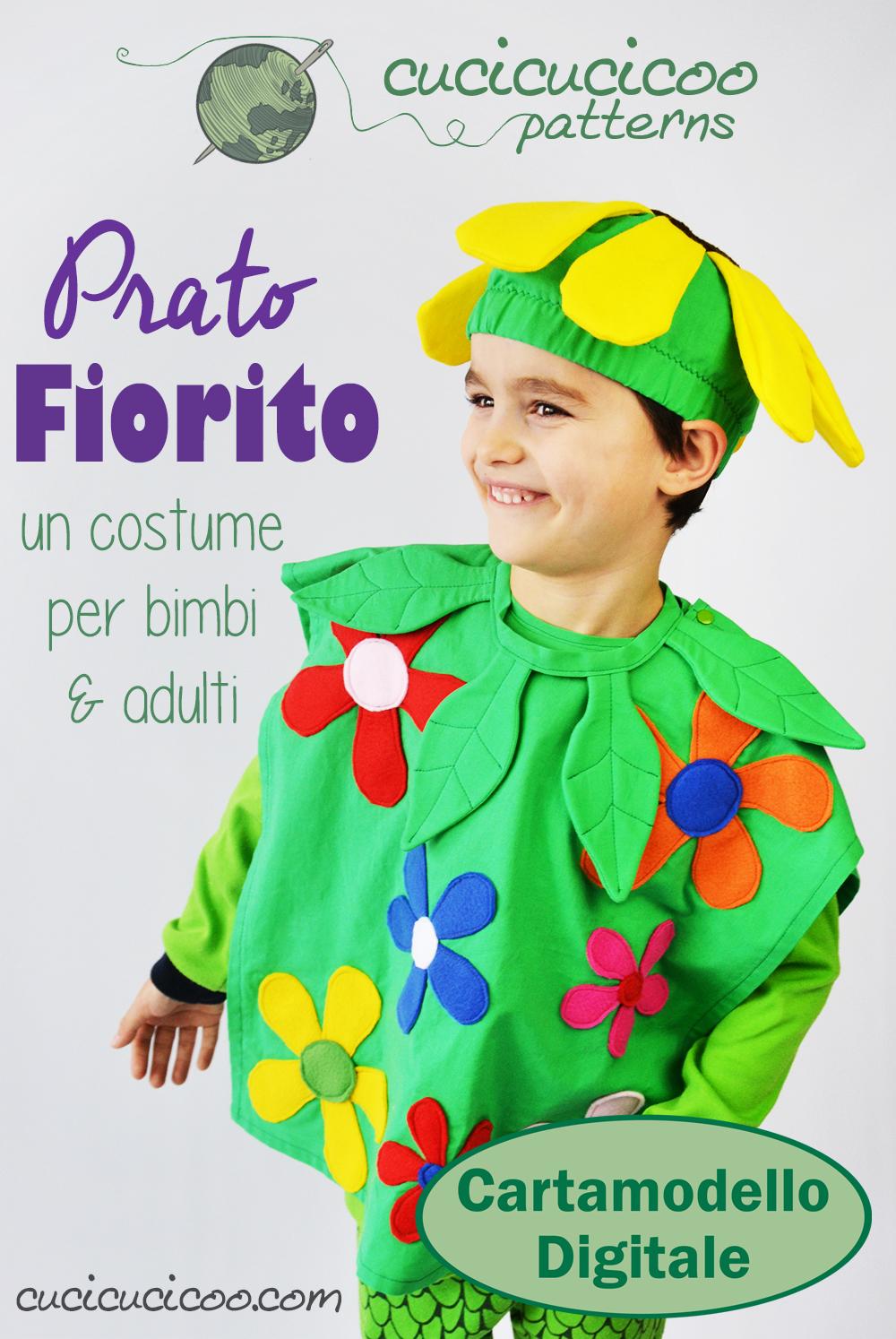 Il costume Prato Fiorito è colorato ed allegro… e per tutta la famiglia! Il cartamodello è composto da corpo, cappello e collare e ha 11 taglie da 2 anni fino ad adulti XL! Solo da Cucicucicoo Patterns!