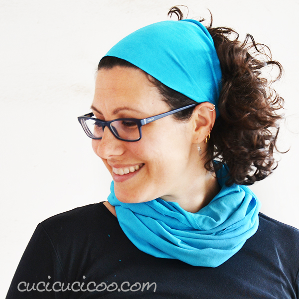Be fashionable and warm in the blink of an eye with a pair of scissors and a T-shirt! You can make a matching infinity scarf and headband set in less than 30 seconds with just 4 cuts! Super easy no-sew tutorial on www.cucicucicoo.com