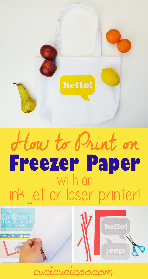 Freezer paper stenciling is so much fun, but tracing designs can be a drag. However it's easy and quick when you learn how to print on freezer paper! There's even a special trick to print with a laser printer instead of an inkjet, or on A4 paper! Find out how on www.cucicucicoo.com!