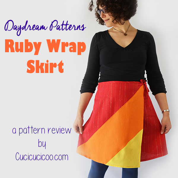 Lots of colorful and creative options in the Ruby women's wrap skirt pattern! The diagonal lace or color blocking is a great way to personalize the skirt! A pattern review by www.cucicucicoo.com