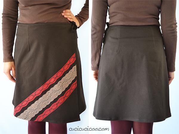 Tante opzioni colorate e creative per il cartamodello per la gonna a portafoglio Ruby Wrap Skirt! Usa il merletto o vari colori in diagonale per personalizzarla in modo originale! Una recensione di www.cucicucicoo.com