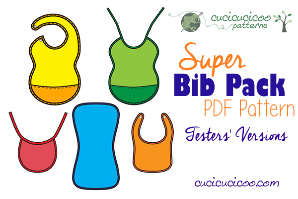 Looking for the perfect bib pattern for your family? Check out how the Super Bib Pattern Pack testers personalized it to their needs through many options! www.cucicucicoo.com