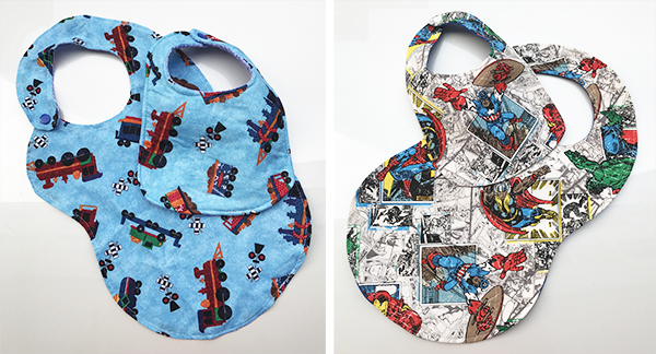 The Super Bib Pattern Pack by Cucicucicoo - loads of bib sizes, styles and variations in one! Here are some of the pattern testers' versions of the Cucicucicoo bibs. www.cucicucicoo.com