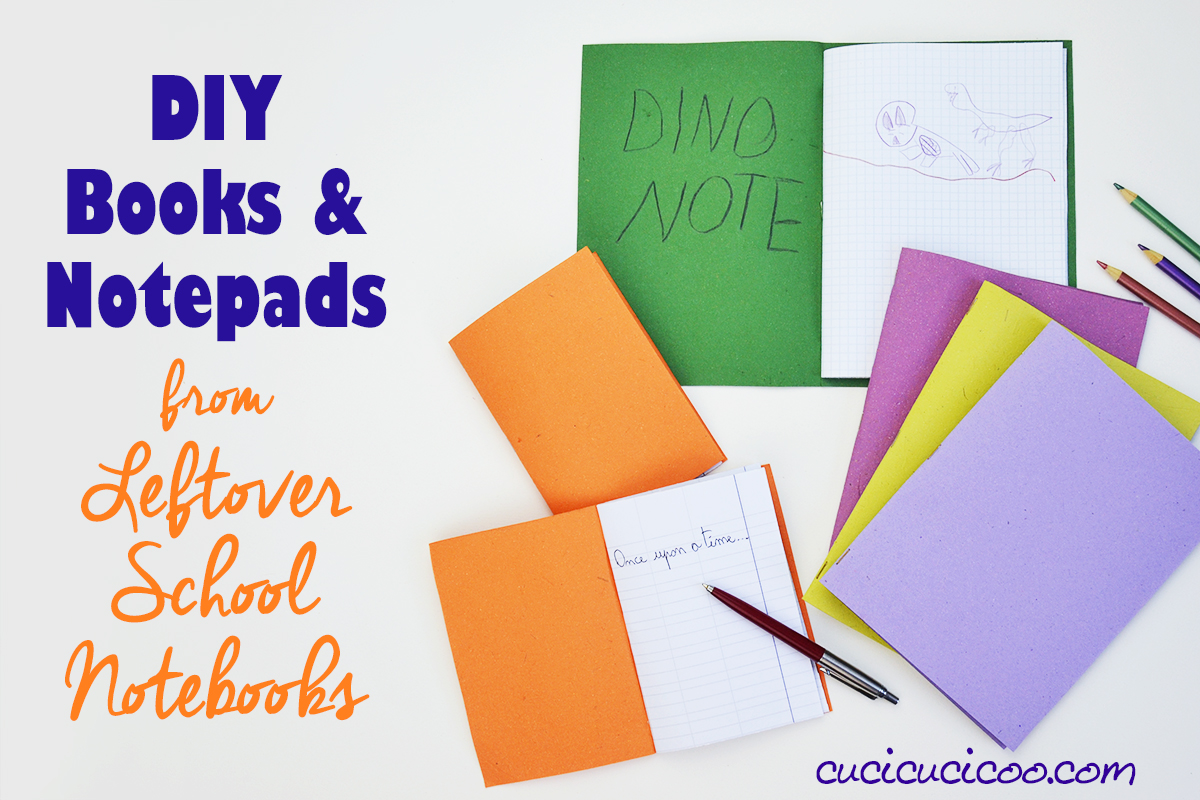 There are always some leftover pages at the end of kids' notebooks at the end of the school year. Rip them out and use them to make your own fun DIY books and notepads to fill with drawings, stories, or secret diary! It only takes about 5 minutes!