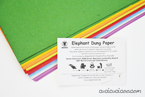 Elephant dung paper. Yes, it's paper made from elephant poop and rice. And no, it doesn't smell like poop!