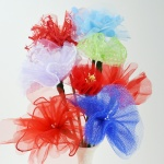 Super quick upcycled DIY tulle flowers