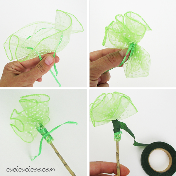 Use up scraps of tulle or upcycle party favor packaging to decorate your home. These DIY tulle flowers are super quick and easy to make and look great!