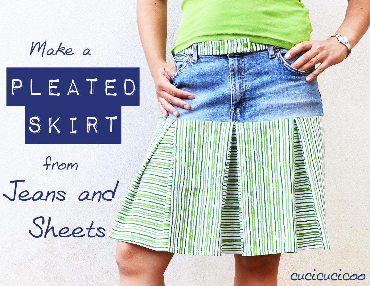 Turn old jeans with ripped knees and a bedsheet into a cool new pleated skirt which is as comfortable as can be!