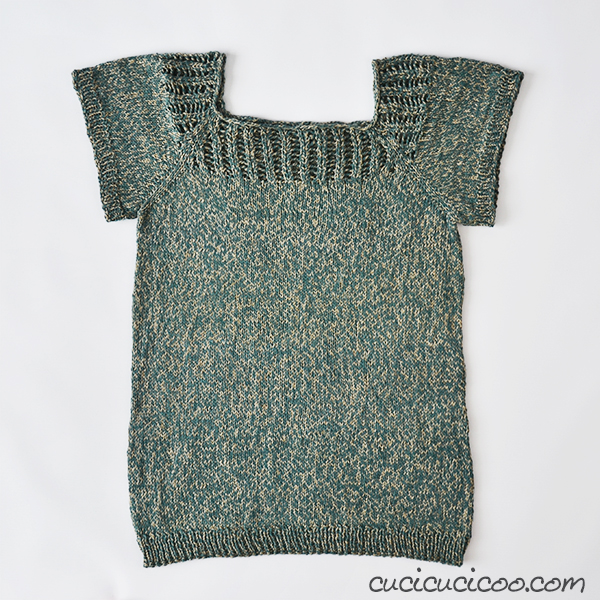 LOVE this free knit tee pattern! Gemini top with a lace neck edge that can be worn facing front or back! Lovely and versatile!