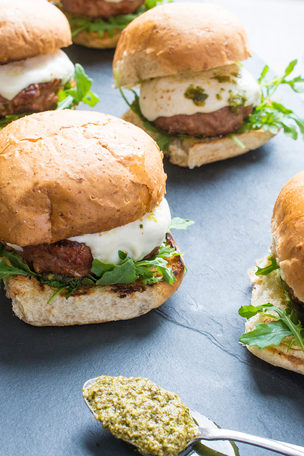 15 mouthwatering ways to use homemade basil pesto in your cooking: Grilled Pesto Turkey Burgers by The Lemon Bowl