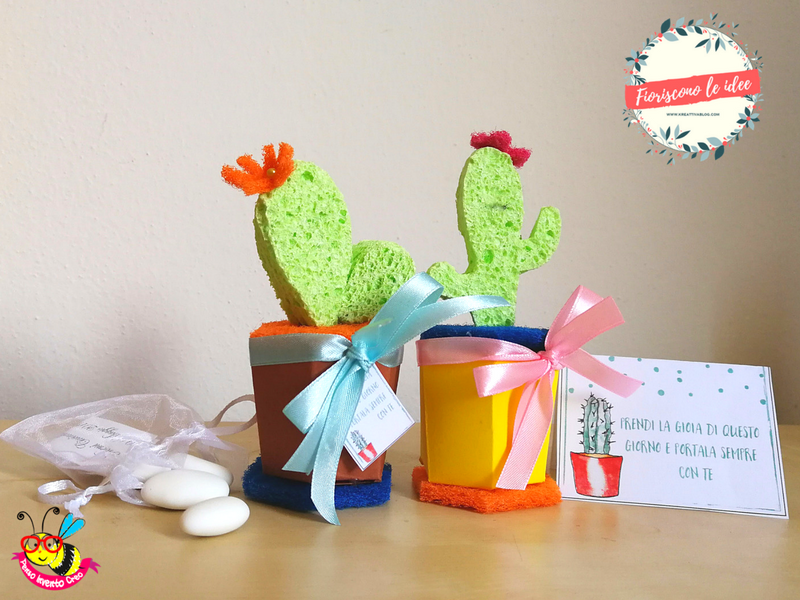 Five fantastic tutorials for DIY cactus party favors with five different materials! Free downloadable templates and printable thank you cards for celebrating all your important milestones with those you love! Here a cactus made from a sponge!