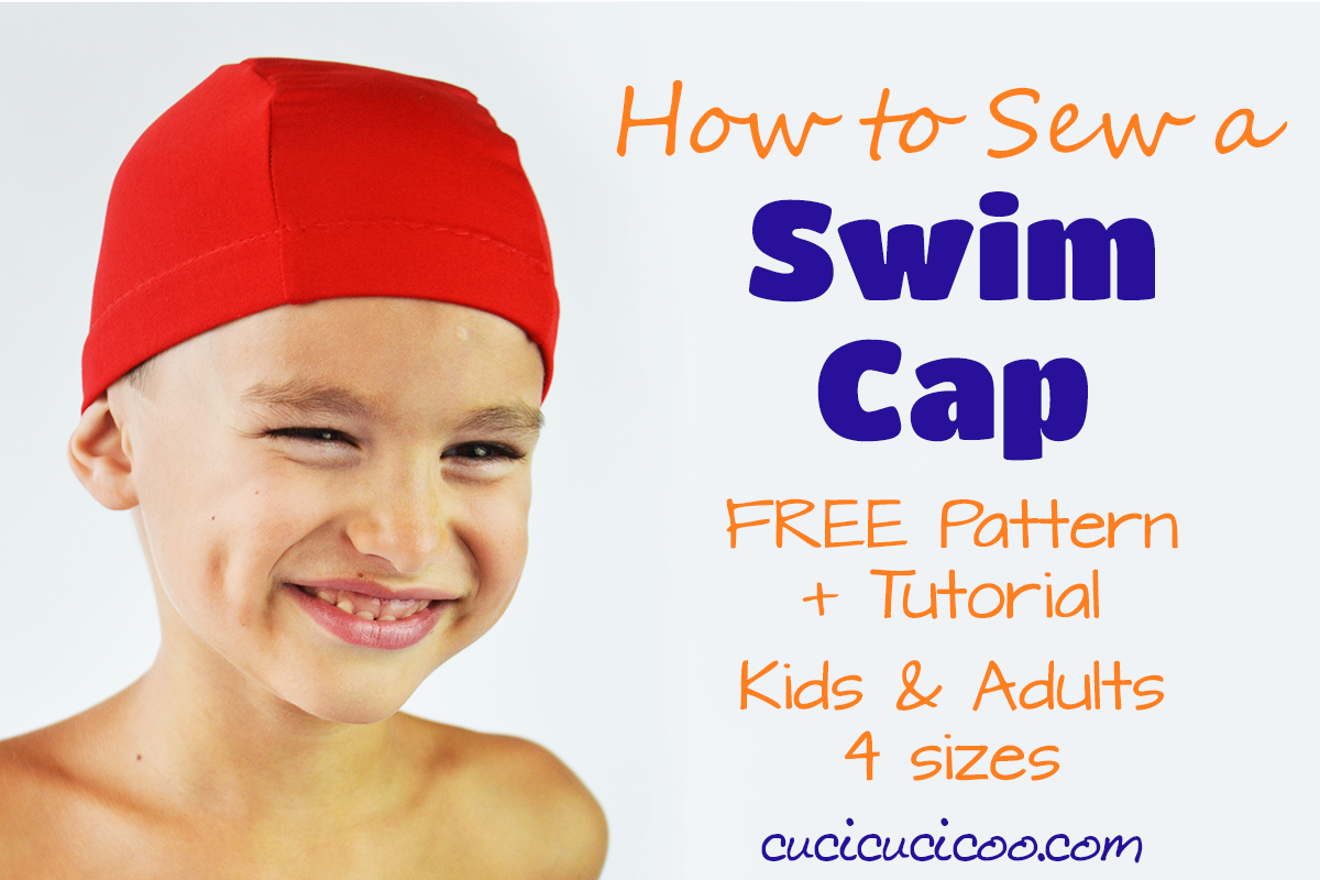 Download a printable sewing pattern and tutorial for a DIY swim cap, with sizes for both adults and children! Perfect for swim lessons and summer pools! #swimcap #diyswimcap