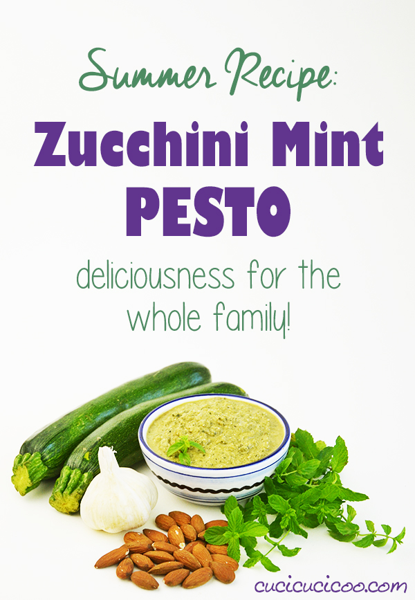 Sick of the usual pasta? It's super fast and easy to make a yummy new sauce: zucchini mint pesto with almonds and garlic! This recipe is delicious for the entire family! #zucchinirecipe #summerrecipe