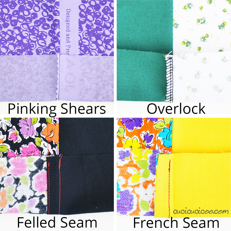 Four techniques for finishing off the seam allowances on the inside of your work: pinking shears, overlock (serger), felled seams, and French seams. #sewing #seams