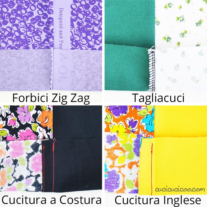 Quattro tecniche per rifinire i margini di cucitura all'interno del tuo lavoro cucito: forbici zig zag, tagliacuci, cucitura a costura, e cucitura inglese. #cucire #cucito