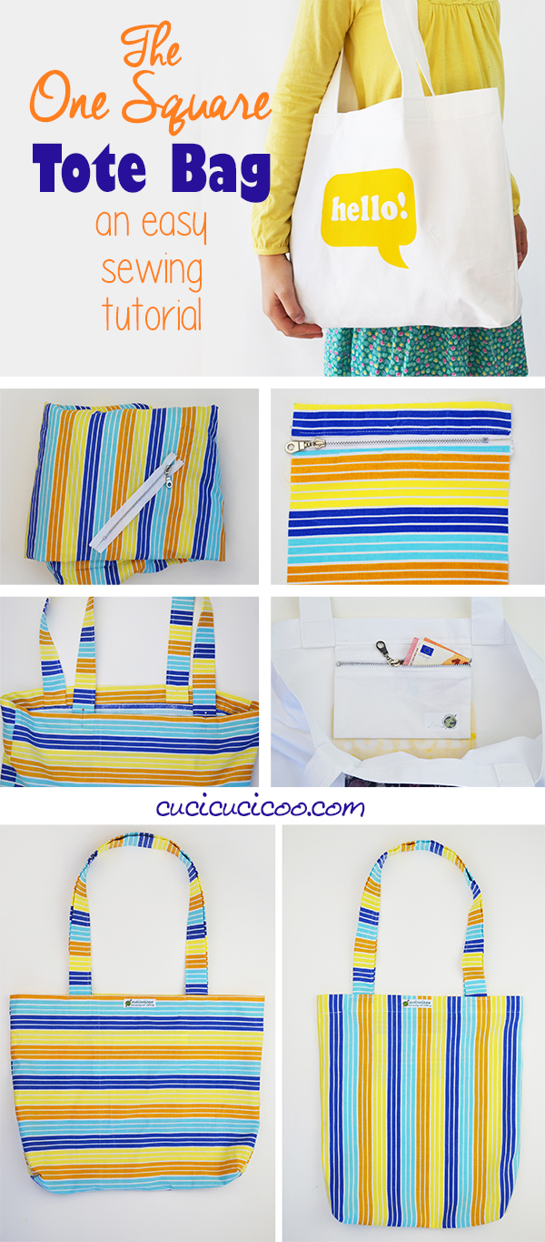 No more ripped plastic bags with the One Square Tote, an easy tote bag sewing tutorial made from a single square of fabric, or from an old sheet! Simple and eco-friendly! #reusableshoppingbag #totebag