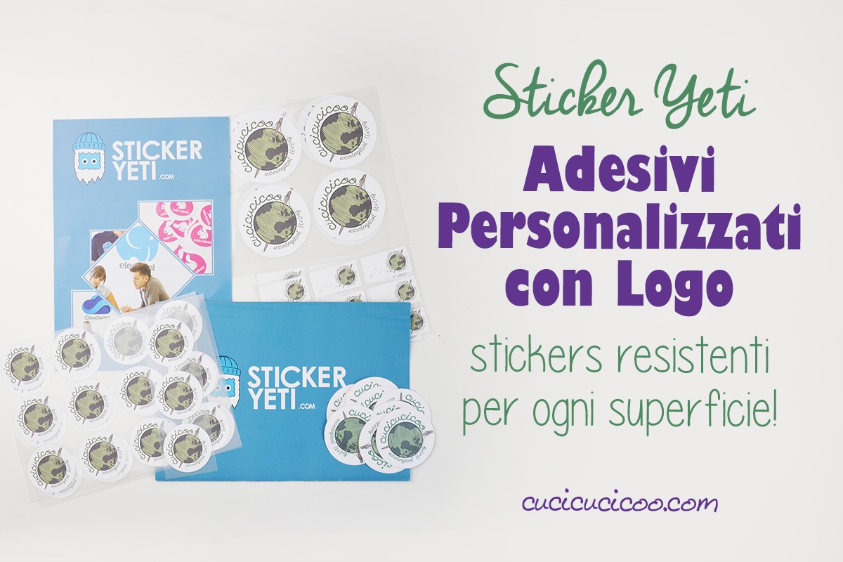 Stampa gli adesivi personalizzati con logo di Sticker Yeti in diverse forme e misure. Sono molto resistenti e si attaccano a praticamente ogni superficie, perfino il tessuto! C'è anche uno sconto per i lettori Cucicucicoo! #stickerpersonalizzati #adesivipersonalizzati