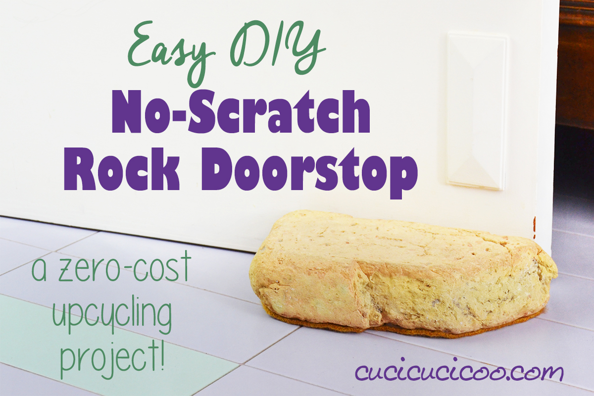 Need a quick fix to keep the doors in your home from slamming shut? This DIY no-scratch rock doorstop with repurposed items is free and only takes 1 minute to make! #rockcraft #feltedsweater