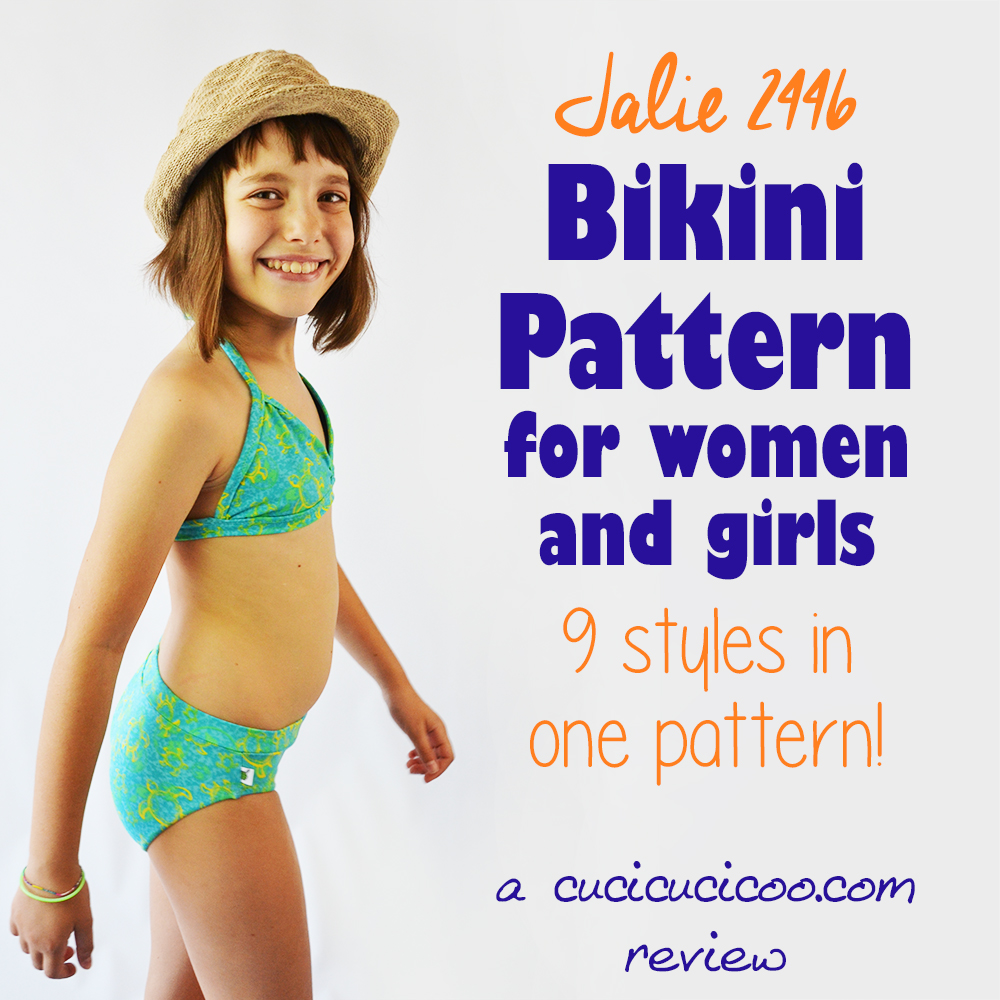Are you sick of looking for bikinis that fit both your top and your bottom? Sew your own with the Jalie 2446 bikini pattern for women and girls, with 9 total styles! #handmadewardrobe #handmadebathingsuit #bathingsuitpattern #bikinipattern