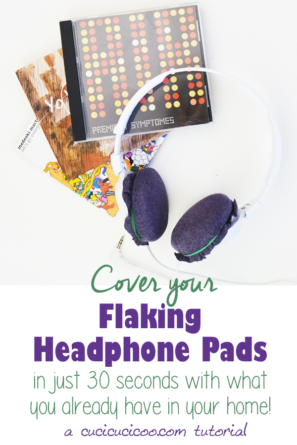 Are your flaking headphone pads keeping you from enjoying your favorite tunes? Check out this super fast way to fix those cushions with things that you probably already have in your home! #headphonefix #headphonecushions #repurposing