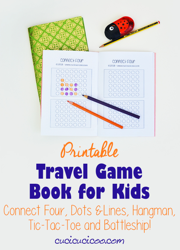 End boredom during long trips with this DIY printable travel game book! Print as many pages of each game (Connect Four, Dots & Boxes, Hangman, Battleship, Tic-tac-toe) and make a simple book for each of your children! #travelwithkids #printablegames