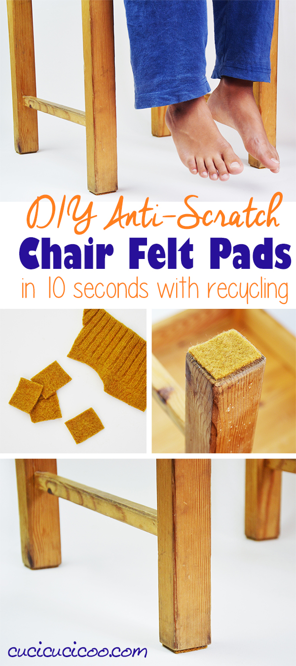 Protect your floors with these super fast, easy and FREE DIY chair felt pads! You can make these table leg pads from a surprising upcycled material in just 10 seconds for a wonderful anti-scratch effect on all your furniture! #diyhome #floorprotector