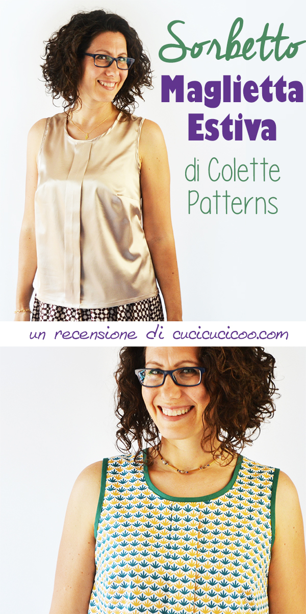 Cerchi il cartamodello perfetto per una maglietta senza maniche da cucire? Il Sorbetto di Colette Patterns è semplice da fare, bello, e anche gratuito! #cartamodello #cartamodelli #cucire #colettepatterns