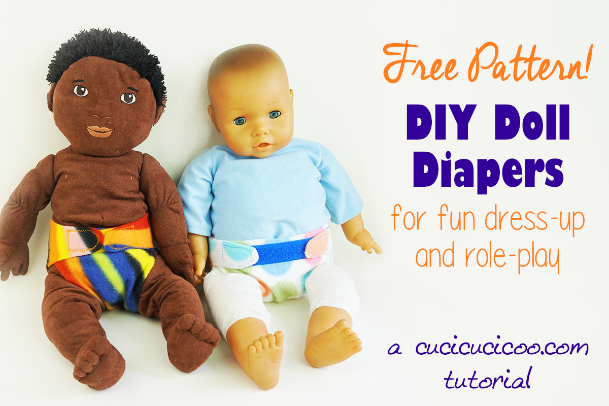 Accessorize your child's favorite dolls and stuffed animals with these easy DIY doll diapers! Use the free pattern, fleece and velcro and the imaginative fun and role playing can begin! #dolldiaper #diydolldiaper #dolldiaperpattern #dollclothes
