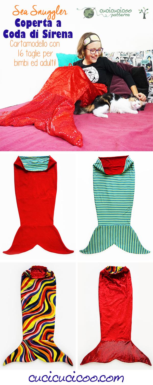 Vuoi imparare a cucire una coperta a coda di sirena? Il cartamodello di cucito Sea Snuggler è double face, e ha 16 taglie per bimbi ed adulti ed opzioni per pinne e vita, e anche una modifica da squalo per i maschietti! #sirena #cartamodello #codadasirena #cucicucicoopatterns