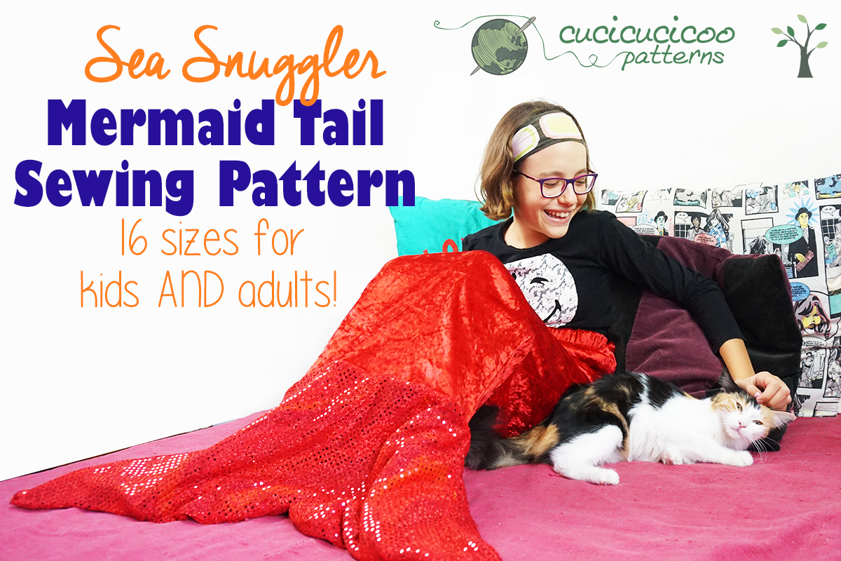 Stay cozy and warm with the Sea Snuggler Mermaid Tail Blanket sewing pattern! This reversible design has two fin shapes, two waistband options and 16 sizes for children and adults! Don't like mermaids, but want a slip-on tail blanket? Check out the shark tail hack that's great for boys! #mermaidtailpattern #mermaidblanket