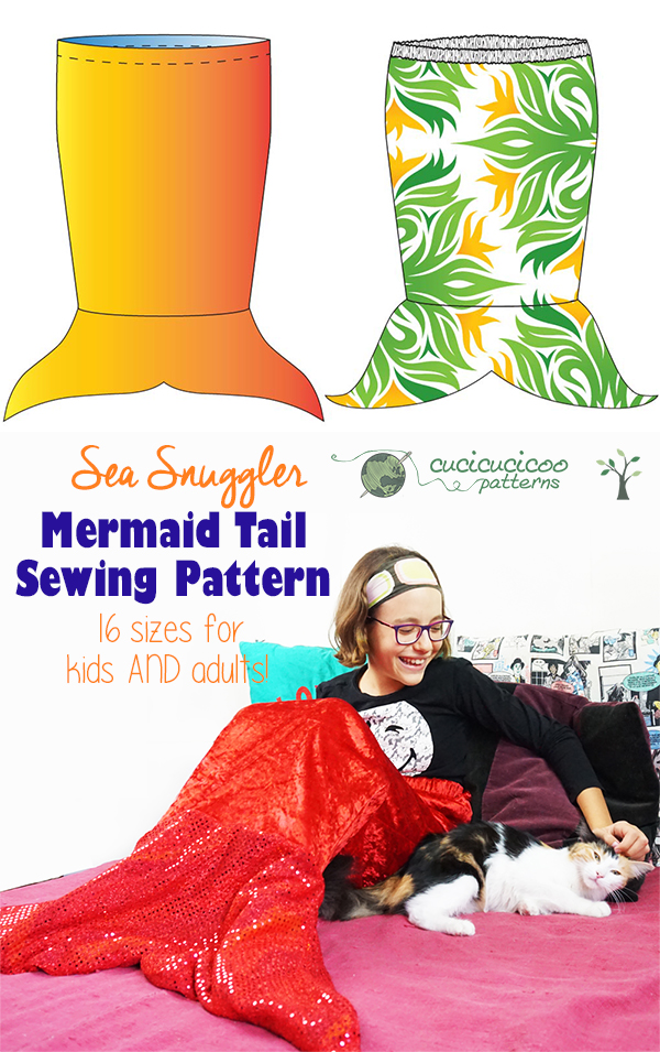Stay cozy and warm with the Sea Snuggler Mermaid Tail Blanket sewing pattern! This reversible design has two fin shapes, two waistband options and 16 sizes for children and adults! Don't like mermaids, but want a slip-on tail blanket? Check out the shark tail hack that's great for boys! #mermaidtailpattern #mermaidblanket #cucicucicoopatterns