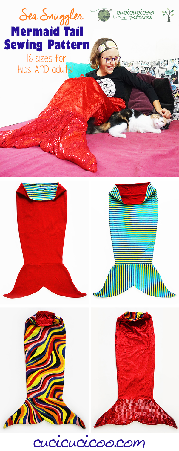 Want to learn how to sew a mermaid tail blanket? The reversible Sea Snuggler sewing pattern has you covered, with two fin and two waistband options and 16 sizes for children and adults! Plus a shark tail modification for boys! #mermaidtailpattern #mermaidblanket #cucicucicoopatterns