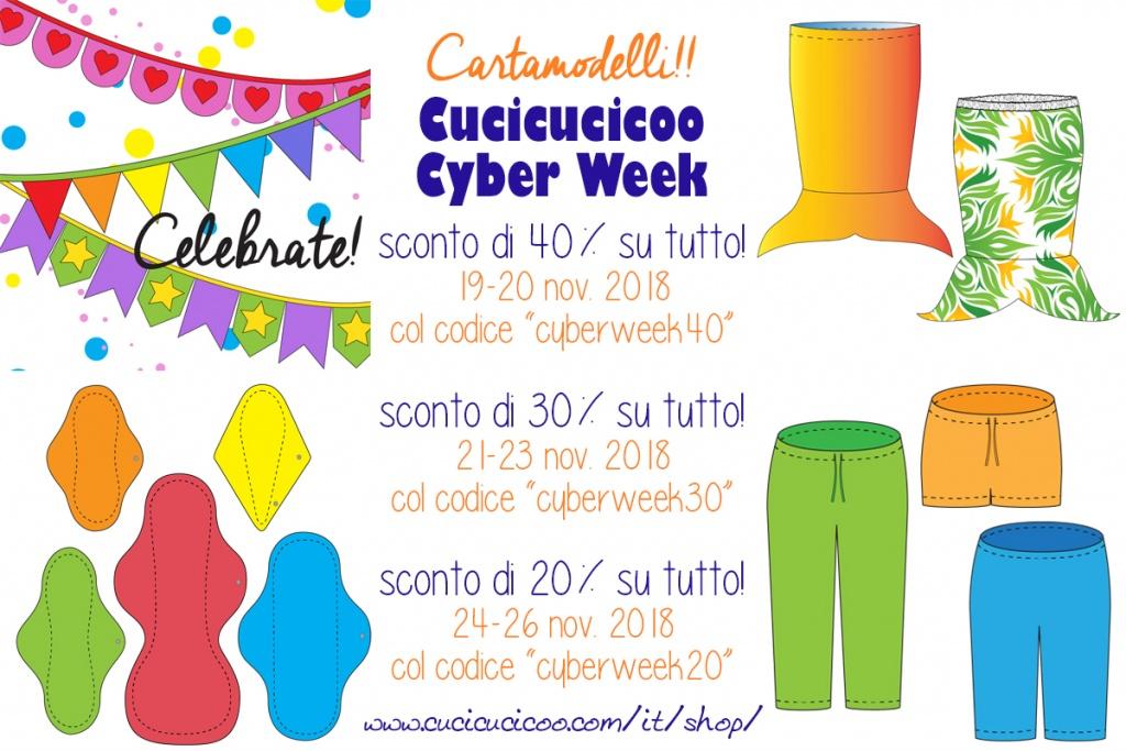 L'evento più grande dell'anno, Cucicucicoo Cyber Week 2018 offre sconti fino al 40% per una settimana intera su TUTTI i cartamodelli di cucito nello shop di Cucicucicoo Patterns! Da non perdere!