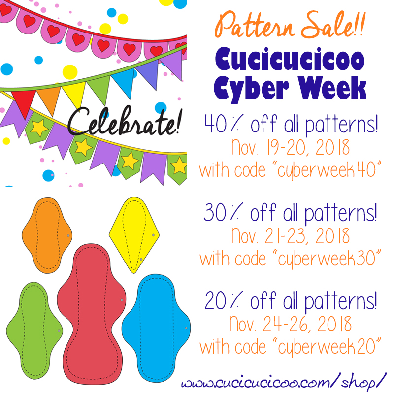 The biggest sale event of the year, Cucicucicoo Cyber Week 2018 offers discounts up to 40% for an entire week on ALL sewing patterns in the Cucicucicoo Patterns shop!