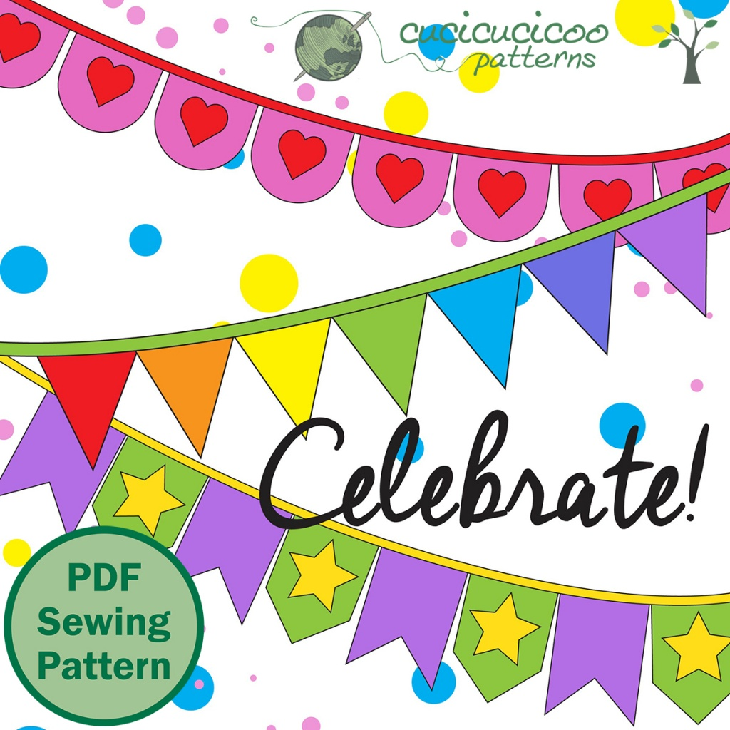 Learn how to sew a pennant banner with appliqued letters and words to add colorful joy and festivity to your party or everyday life! Link to pattern in 5 shapes and 4 sizes! #diybanner #handmadebanner #cucicucicoopatterns