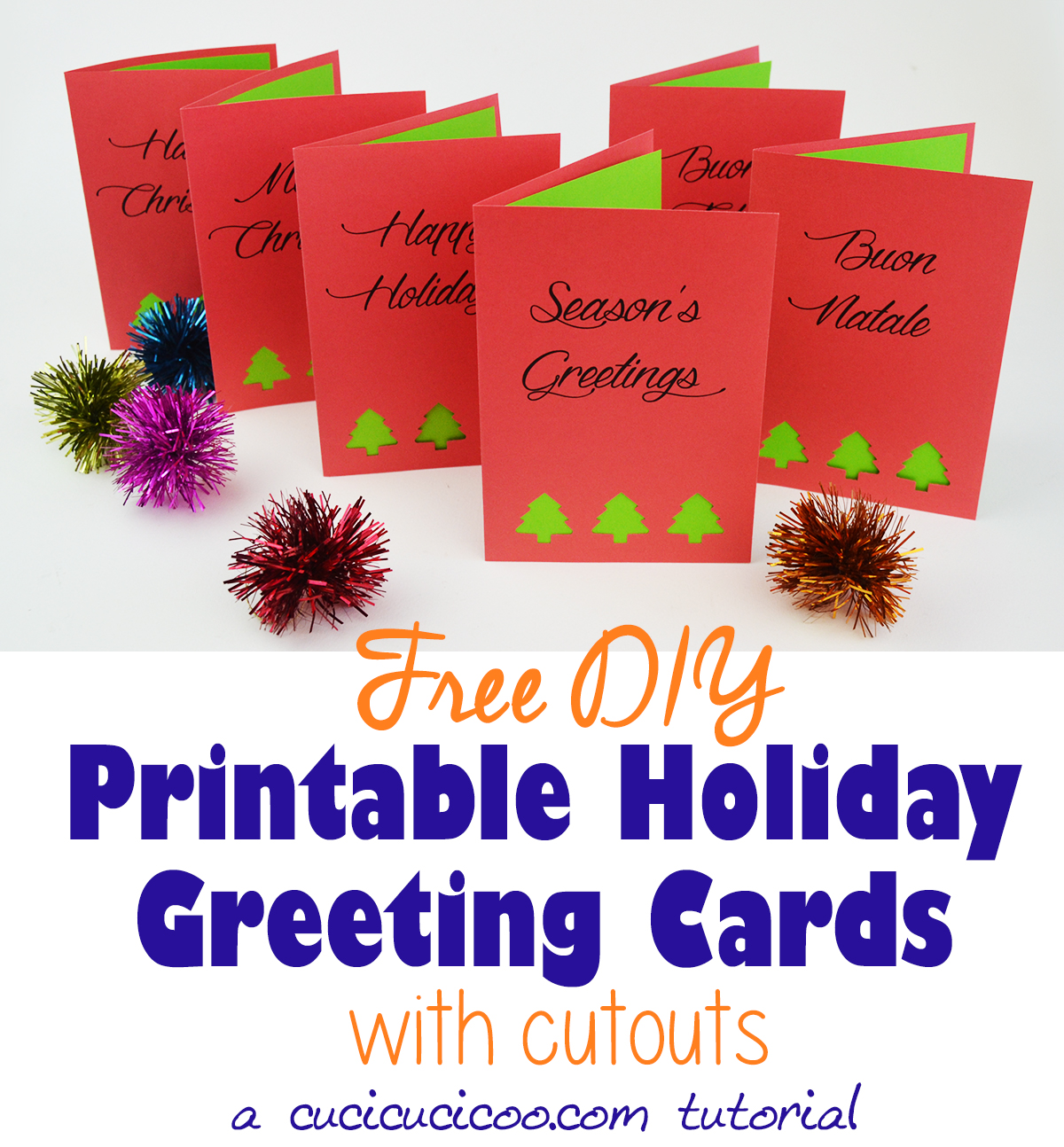 graphic regarding Free Printable Christmas Cutouts called Do-it-yourself Greetings: Absolutely free Printable Getaway Playing cards with Cutouts