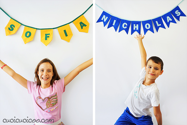 Learn how to sew a pennant banner with appliqued letters and words to add colorful joy and festivity to your party or everyday life! Link to pattern in 5 shapes and 4 sizes! #diybanner #handmadebanner