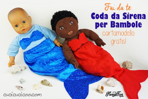 Questo piacerebbe tanto a mia figlia! Se realizzi vestiti per le bambole, questo cartamodello GRATIS fa per te! Cuci una coda da sirena per bambole fai da te con un reggiseno a conchiglia! #codadasirena #bambole #bamboledistoffa #sirena