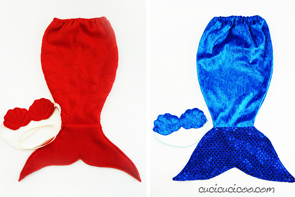 "These are perfect to give to my daughter! If you love dressing up your dollies, get this FREE doll mermaid costume sewing pattern, with two types of tails and a cute shell ""bra"", perfect for classic 18 inch dolls! #dollmermaidtail #sewingfordolls #dollclothespatterns #mermaidtail"