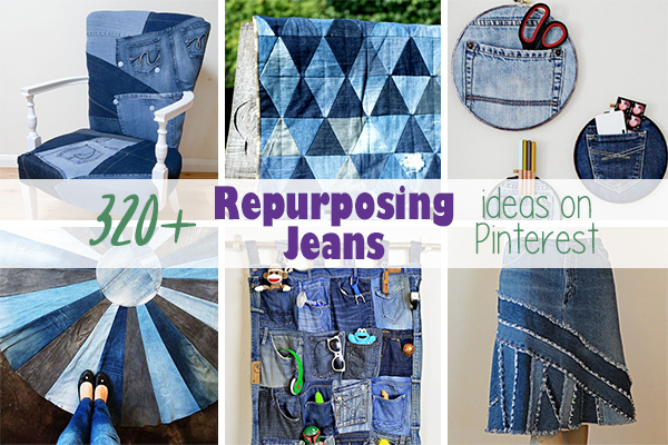 Over 300 of the best projects and ideas on the internet for repurposing and refashioning jeans! #repurposejeans #refashionjeans