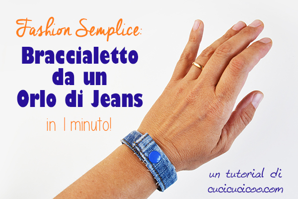 Che sfizio! Trasforma gli orli dei pantaloni in un braccialetto di jeans fai da te semplice! Con il riciclo creativo, avrai un accessorio nuovo in 1 minuto! #riciclojeans #riciclocreativo