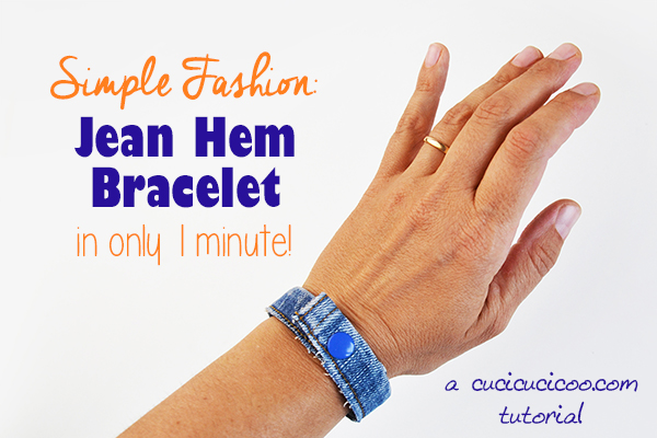 What a simple and quick way to get a funky new accessory! Save those cuffs when you refashion or repurpose your old jeans and turn them into a super simple DIY jean hem bracelet! All you need are scissors, a snap and 1 minute! #jeansrefashion #refashionjeans